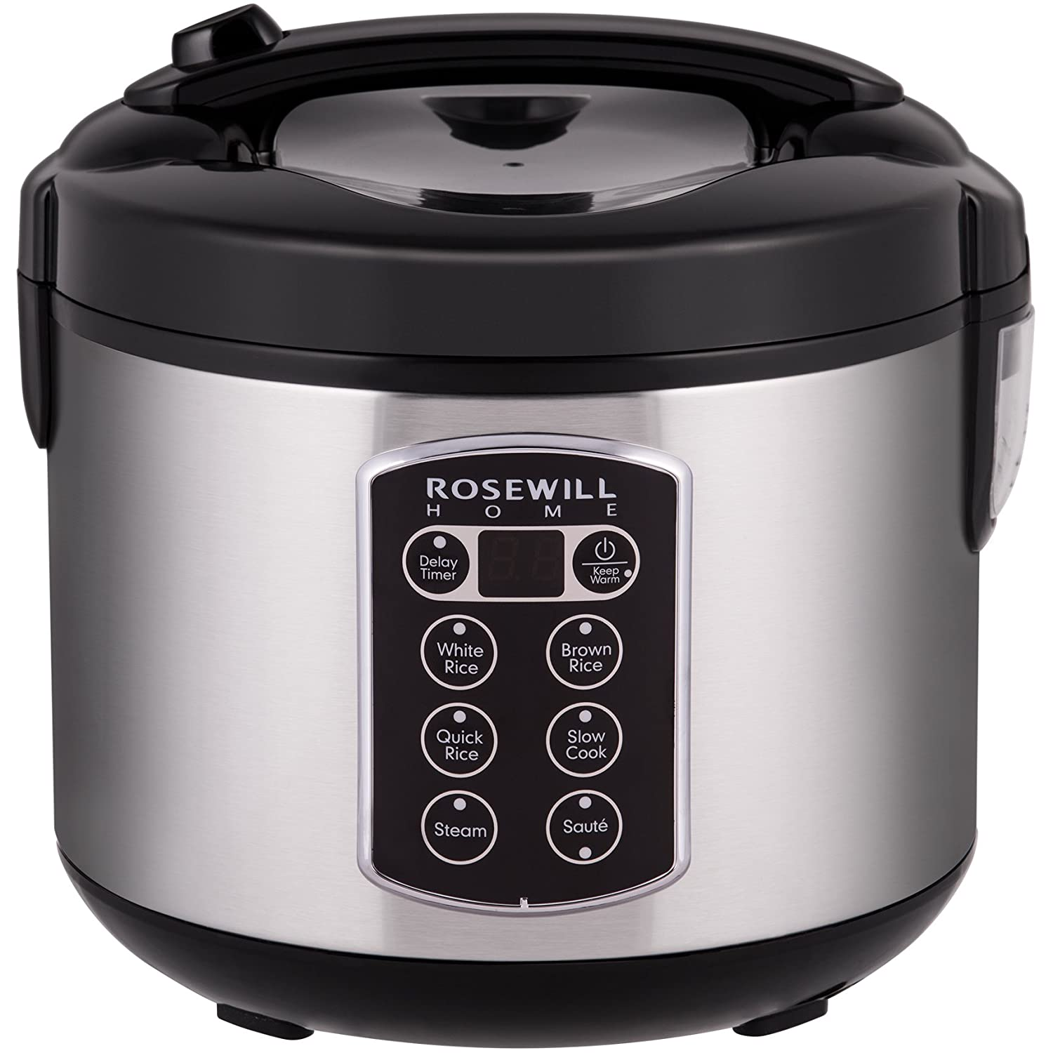 Rosewill 12-Cup Cooked 6-Cup Uncooked Digital Rice Cooker and Food Steamer with Stainless Steel Exterior RHRC-17001