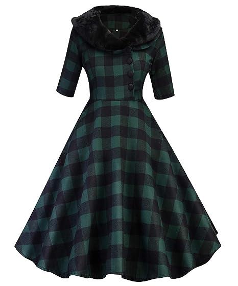 81a0ec9ccf9 Tecrio Women 1950 s Vintage Classy Plaid Wide Lapel Rockabilly Party Swing  Dress S Green
