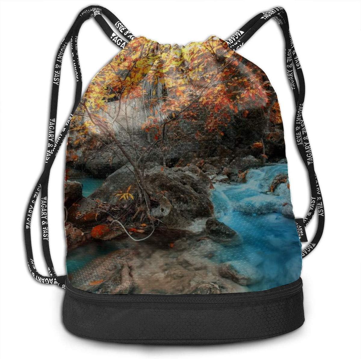 Kids Backpack Fantastic Seasonal Forest Landscape Gym Drawstring Bags Backpack Sports String Bundle Backpack For Sport With Shoe Pocket Gym Organizer Bag