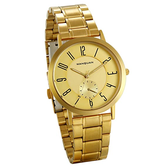 JewelryWe Reloj Dorado para Hombre, Esfera Grande Números Arábigos, Color Oro Correa de Acero Inoxidable Reloj de Caballero: Amazon.es: Relojes