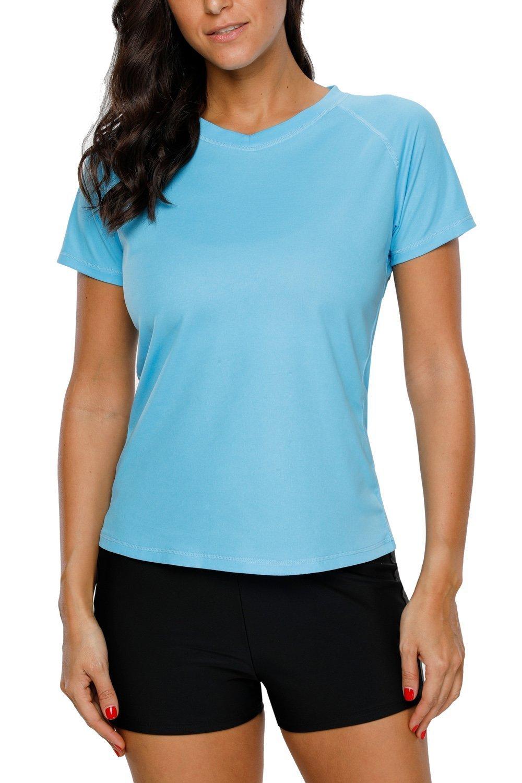 ALove Short Sleeve Rashguard for Women Beach Swim Shirt Swimwear Sport Tops Blue XXL