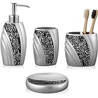 zccz Bathroom Accessory Set, Mosaic Glass Bathroom Décor Set 4-Piece Bathroom Vanity Accessories Toothbrush Holder Set…