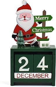 NOVMAY Christmas Countdown Calendar Wooden Blocks Perpetual Desk Calendar Reindeer Snowman Santa Retro Christmas Handmade for Home Office Decoration (Santa)