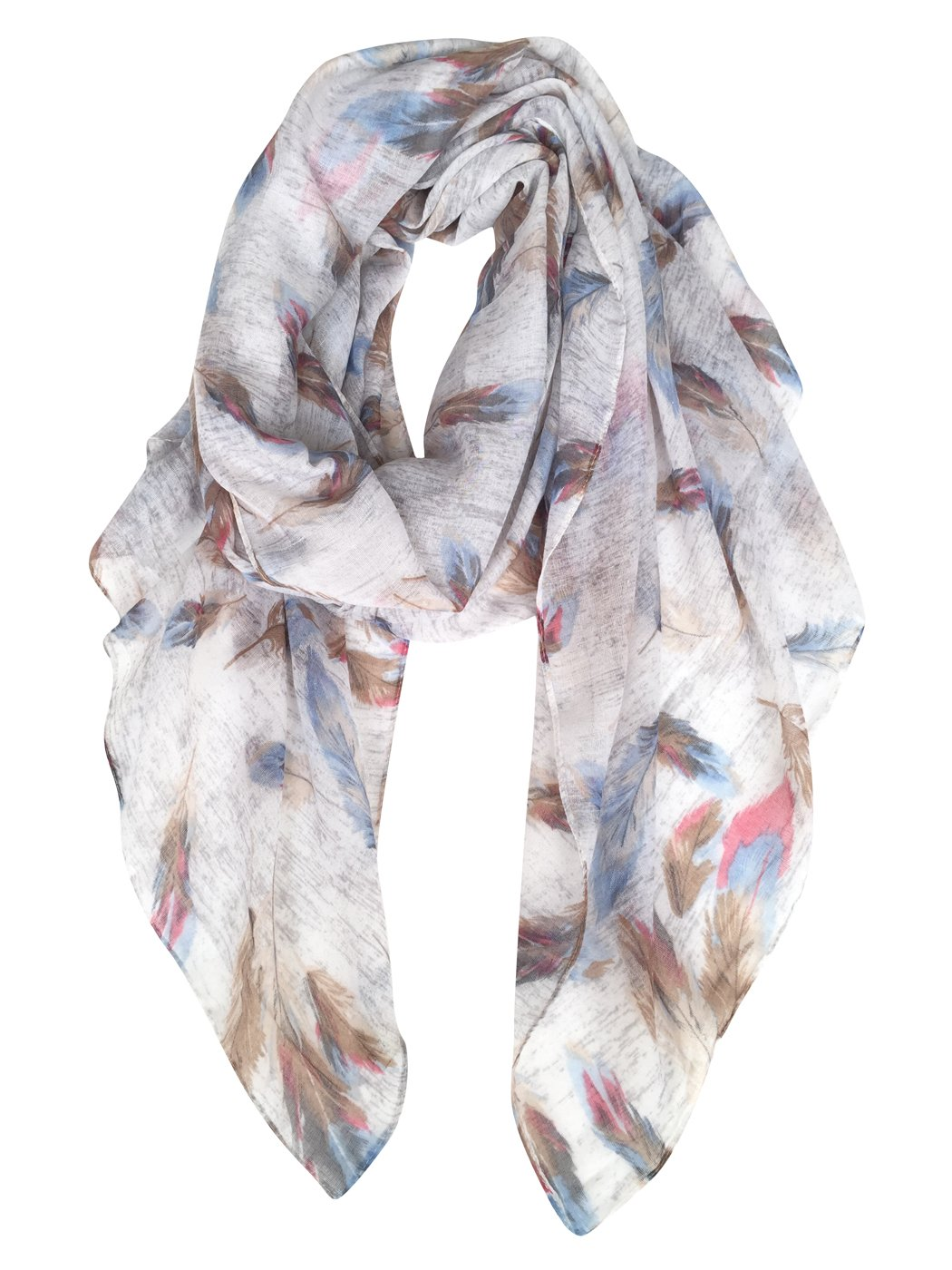 GERINLY Scarf Wrap - Colorful Feathers Print Shawls Womens Soft Warm Scarves (Light Grey)