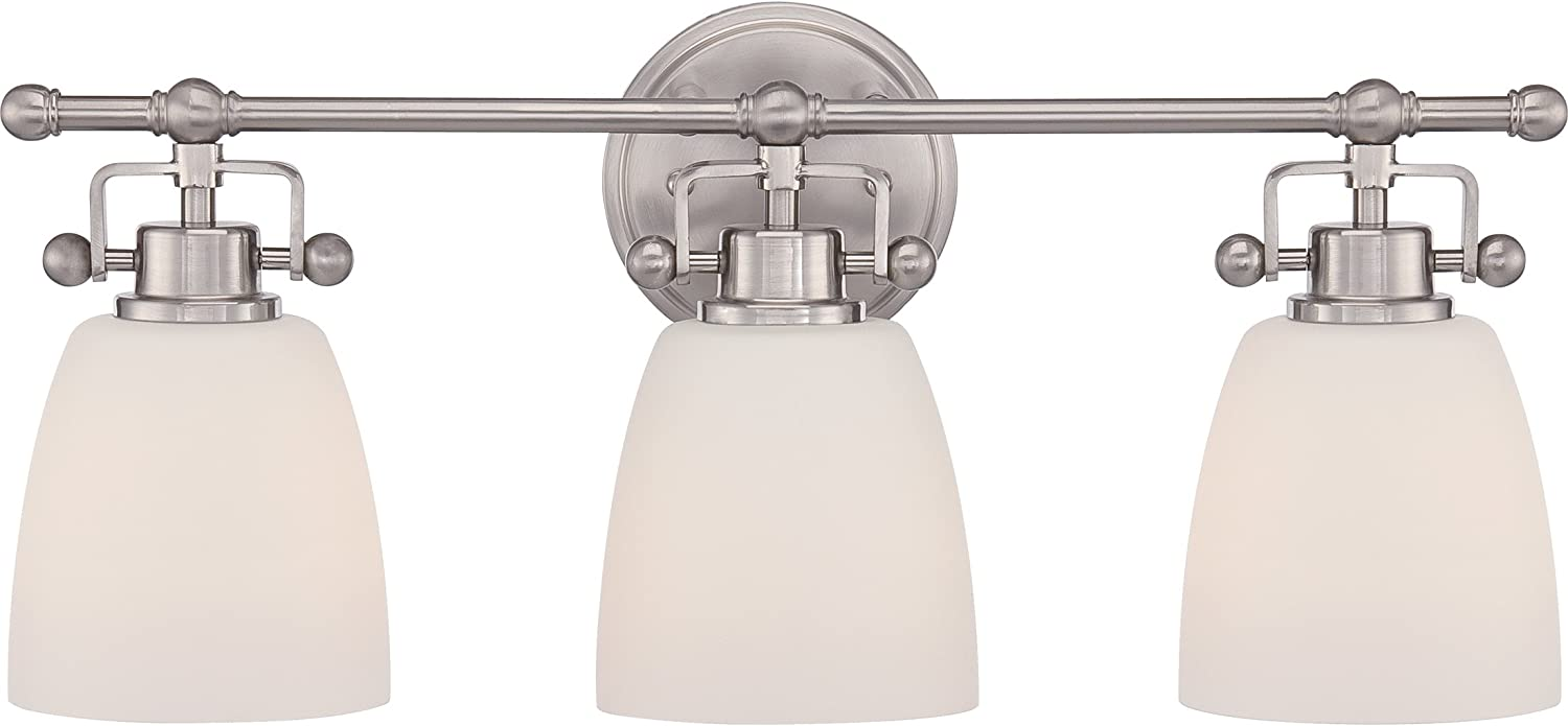 Quoizel BWR8603BN Bower Vanity Bath Lighting, 3-Light, 300 Watts, Brushed Nickel 10 H x 22 W