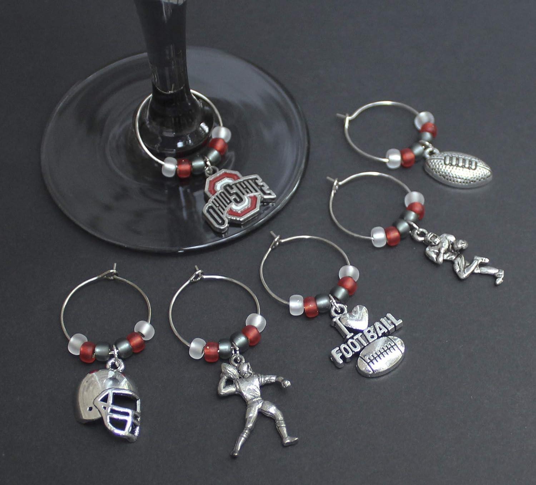 Football-Ohio-Wine Glass Charms-Set of 6-FTBLL017-6