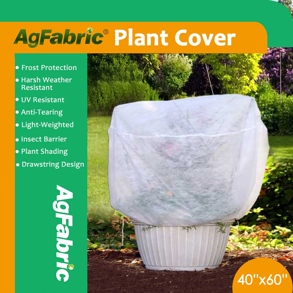 Agfabric Plant Cover Plant Shade Protection Bags - 0.95 oz Fabric of 40''Hx60''W Shrub Jacket, 3D Round Plant Cover for Bug/Insect Barrier