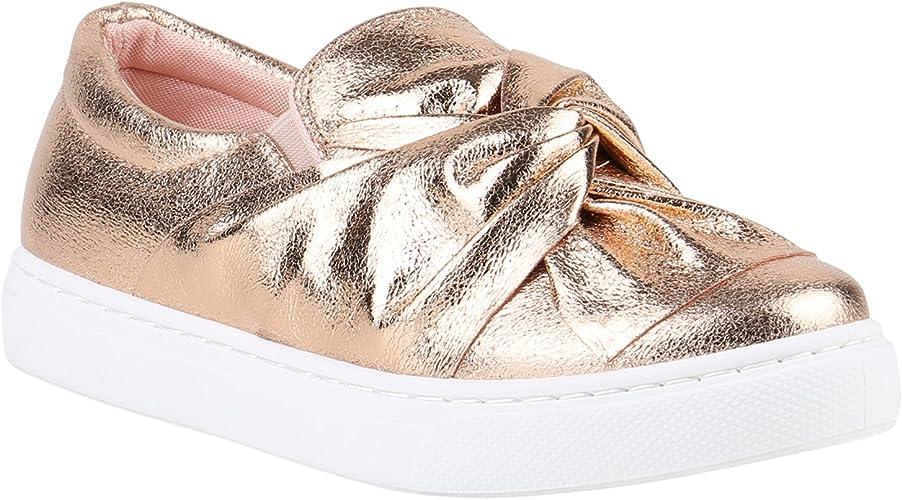 stiefelparadies Damen Sneaker Slip Ons Metallic Glitzer
