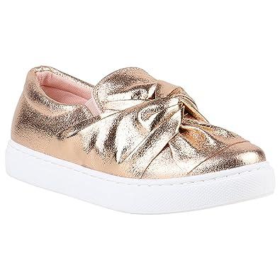 Damen Sneakers Slipper Slip-Ons Metallic Kroko Gold Silber New Look Schuhe 141450 Rose Gold Schleife 41 Flandell dPp5SiUfED