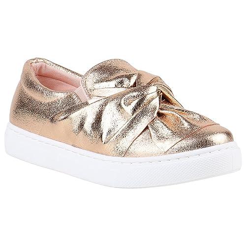 2acac72811842b Damen Sneakers Slipper Slip-Ons Metallic Kroko Gold Silber New Look Schuhe  141450 Rose Gold