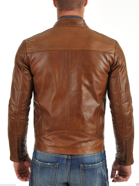 Royal Outfit Genuine Lambskin Leather Regular Fit Biker Jacket for Men - Tan