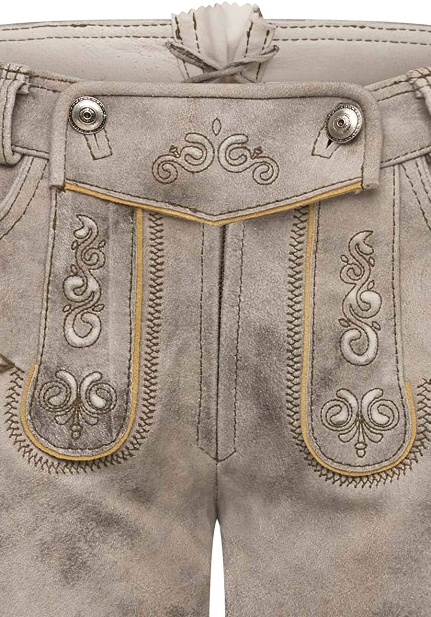 Hotpants Kontrastn/ähte aus Ziegenleder Velours MADDOX Lederhose kurz Stein Maria 004953 traditionelle Stickereien Rei/ßverschluss Trachtenkn/öpfe