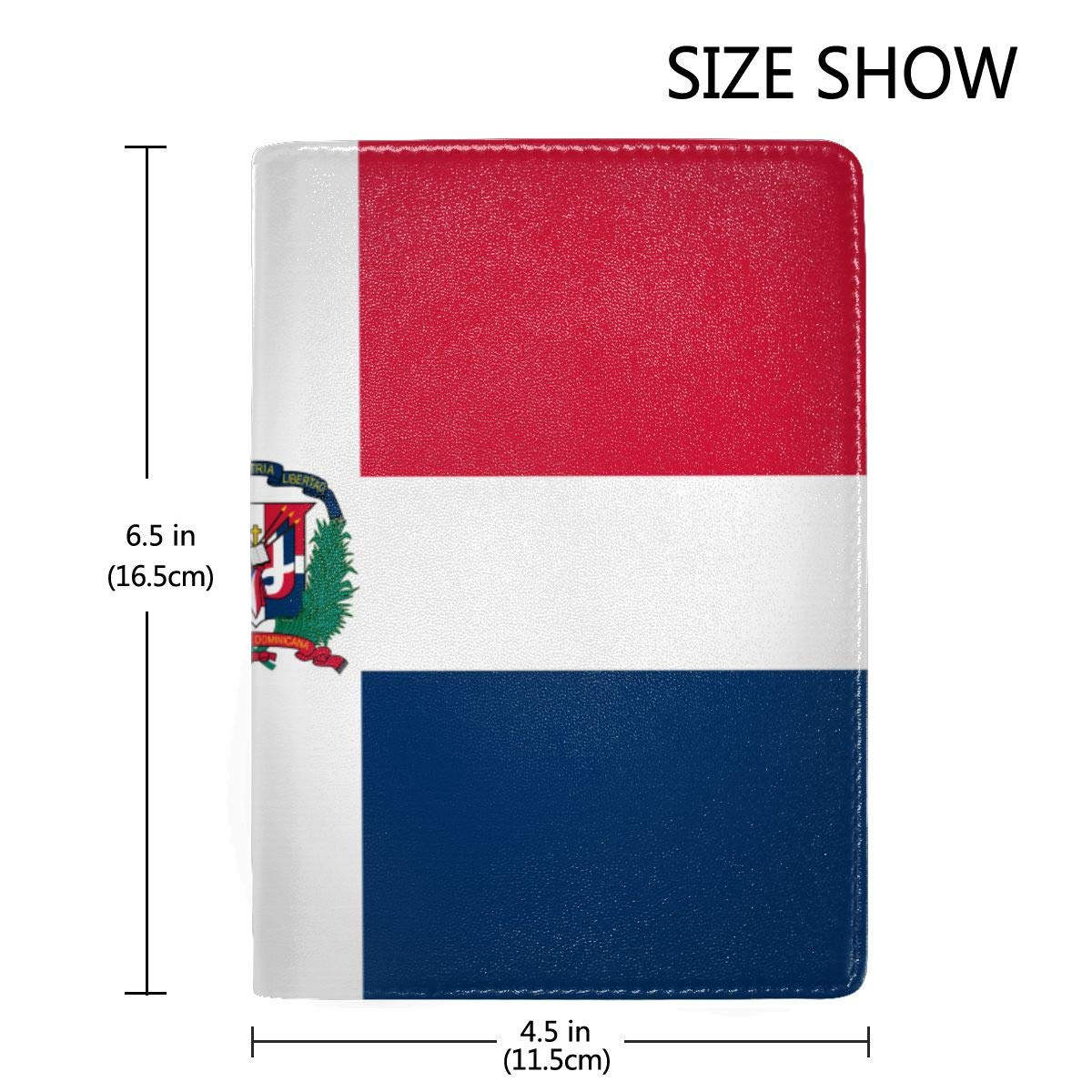 Dominican Republic Flag Fashion Leather Passport Holder Cover Case Travel Wallet 6.5 In