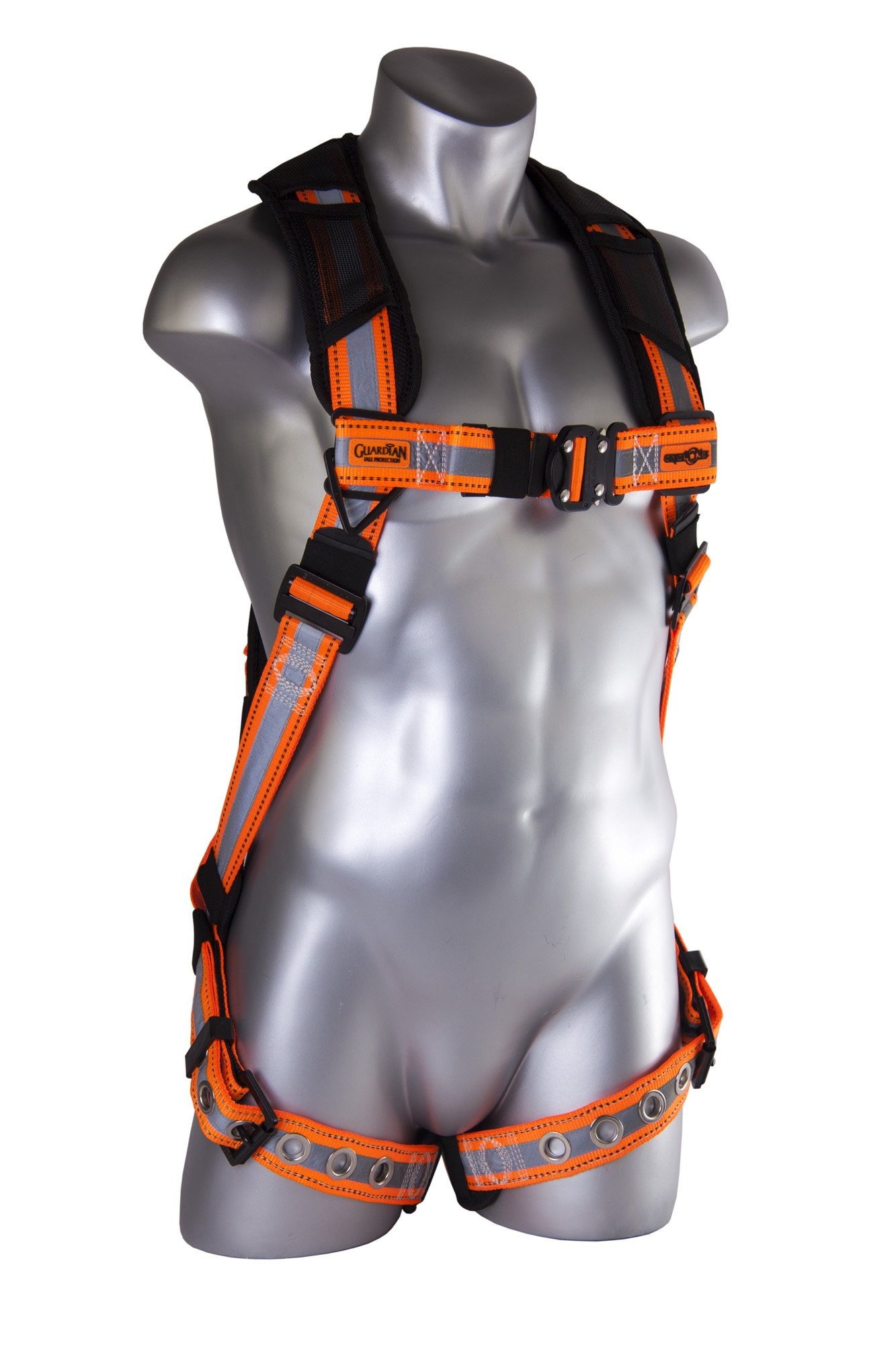 Guardian Fall Protection 21056 Cyclone Harness Black/Orange, sewn-on Silver Reflective Webbing, Quick Connect Chest, Tongue Buckle Legs, Size S