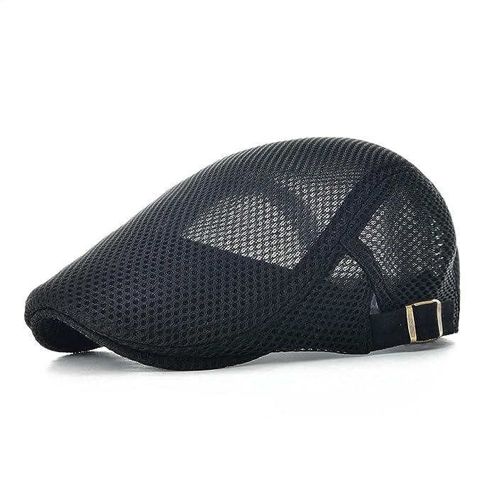 a357d61c462 VOBOOM Men Breathable mesh Summer hat Newsboy Beret Ivy Cap Cabbie Flat Cap  MZ124 (Black