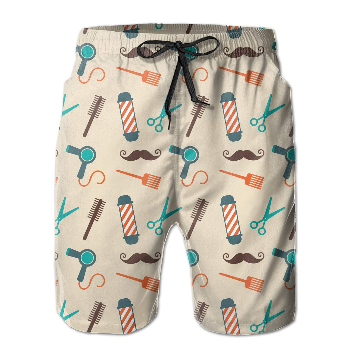 YongColer Mens Casual Swim Trunks Medium Length Summer Drawstring Beach Shorts Surfing Pants Bathing Suits-Barber Tools