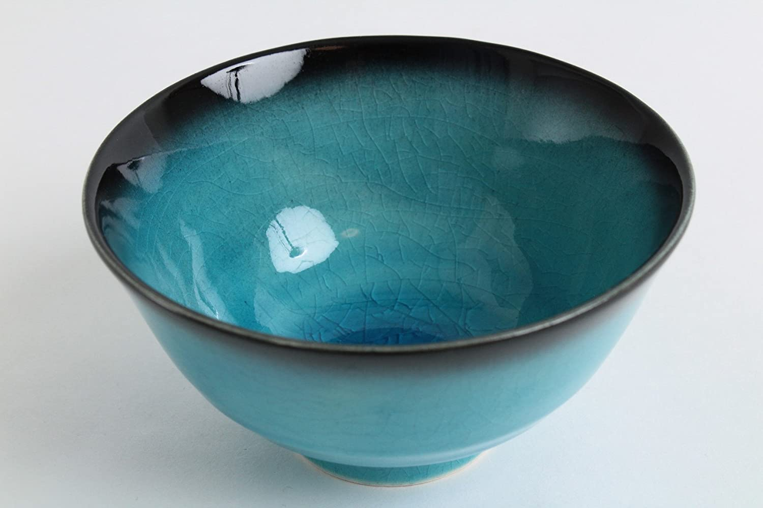 Mino ware Japanese Pottery Rice Bowl BLUE RIVERS Turquoise Blue Crackled BRC001