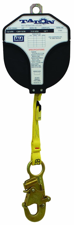 3M DBI-SALA Talon 3101050 Fall Protection Self Retracting Lifeline, 16-Foot, 1-Inch Nylon Web, Snap Hook, Blue/Yellow by 3M Fall Protection Business B0069B503G