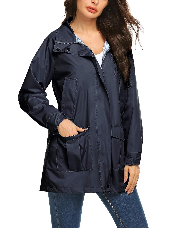 Romanstii Rain Jacket Waterproof Windbreaker Lightweight Raincoat with Hood Active Sports Jacket Rainwear
