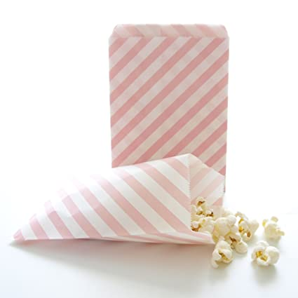 Pink Goodie Bags Bulk Gift Baby Girl Birthday Party Favors Striped Treat