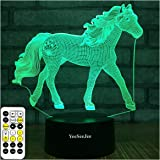 YeeSeeJee Horse Gifts for Girls,3D Night Light with 7 Colors Adjustable Timer Remote & Smart Touch Horse Toys Birthday…
