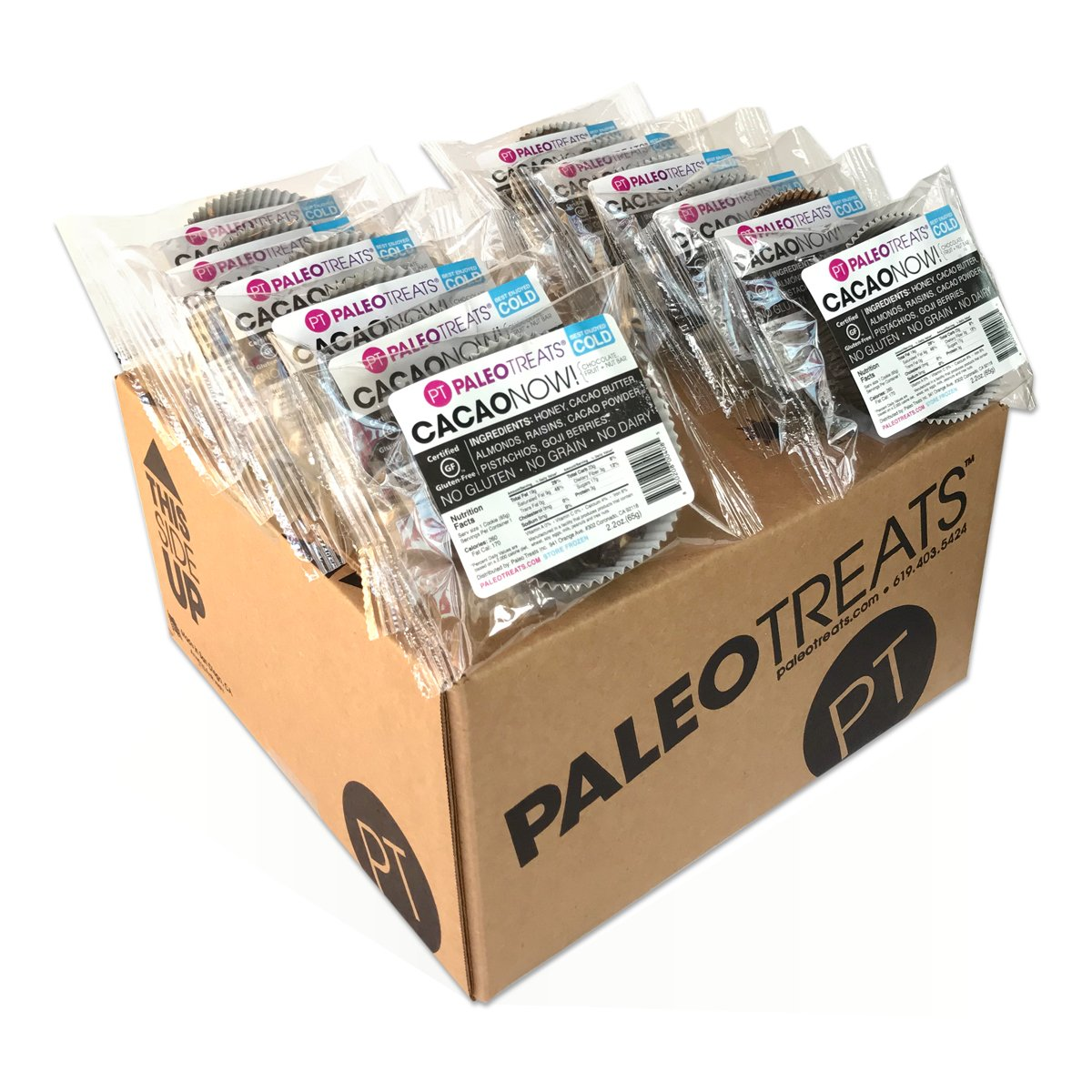 Paleo Treats Cacao Now!: Paleo cookie, Gluten-Free, Grain-Free, Dairy-Free, Soy-Free, Egg-Free, Real Food Dessert (Box of 12)