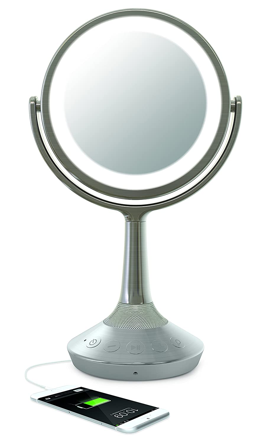 iHome iCVBT52 6 Double-sided Vanity Mirror with Bluetooth Audio / Speakerphone and USB Charging (Silver Nickel)