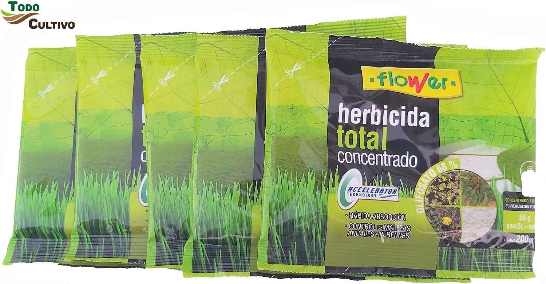 Herbicida Total Concentrado glifosato 68%. Pack 5 Sobres 1000 Metros Cuadrados (50 liltros de Agua). Utilizado para la eliminación Total de Malas Hierbas: Amazon.es: Jardín