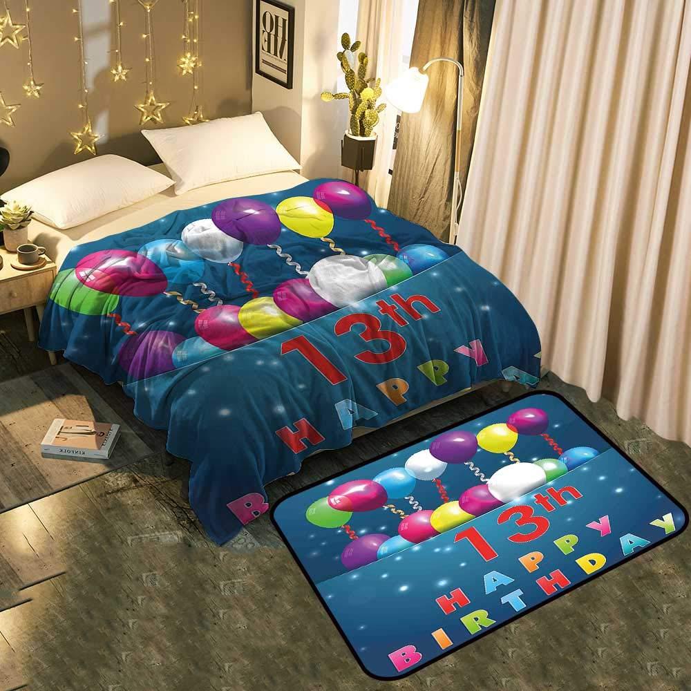 ブランケットとフロアマットのセット ケーキキャンドル 記念日 誕生 願い 若いイメージ フクシア ダークブルー シックパターン 静電気防止 Blanket 70