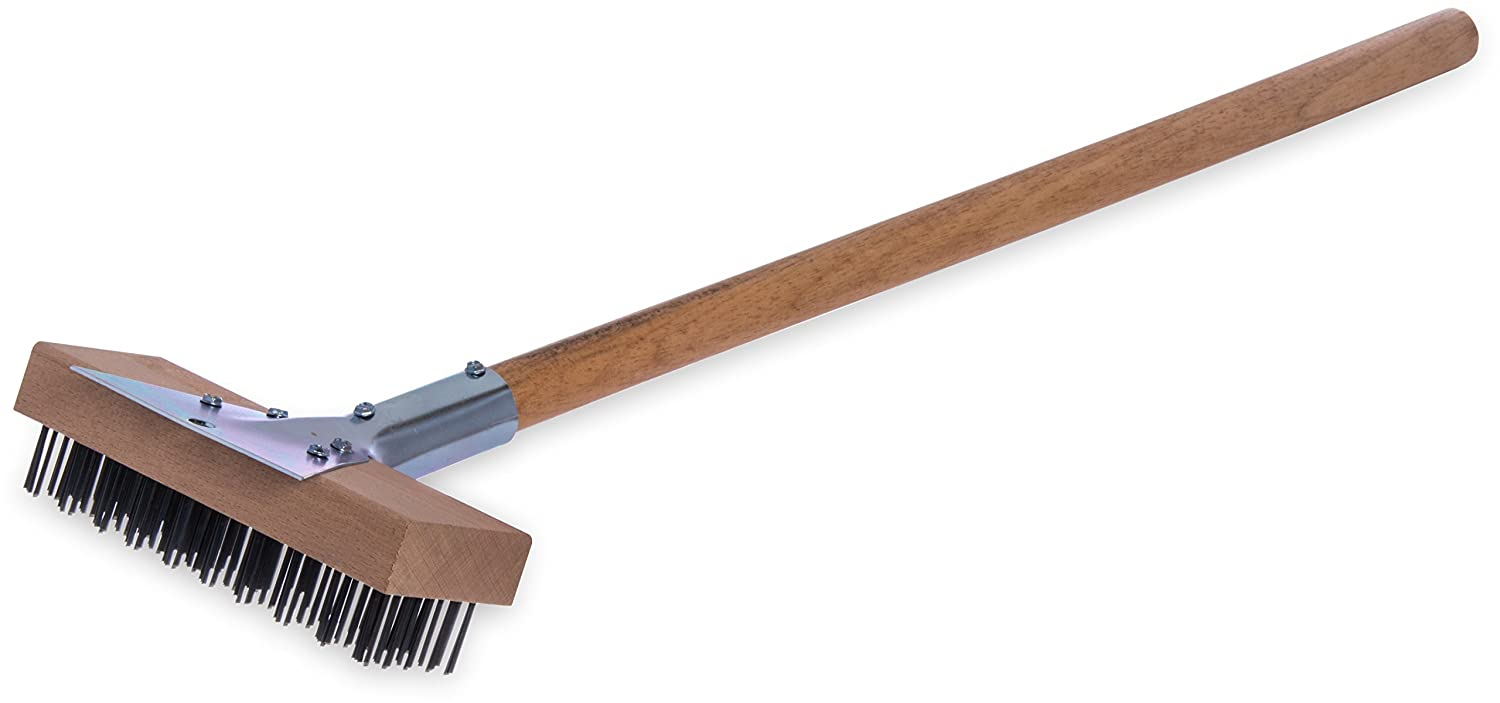 "Carlisle 36372500 Oven & Grill Brush With Scraper, Stainless Steel Bristles and 30"" Long Hardwood Handle"