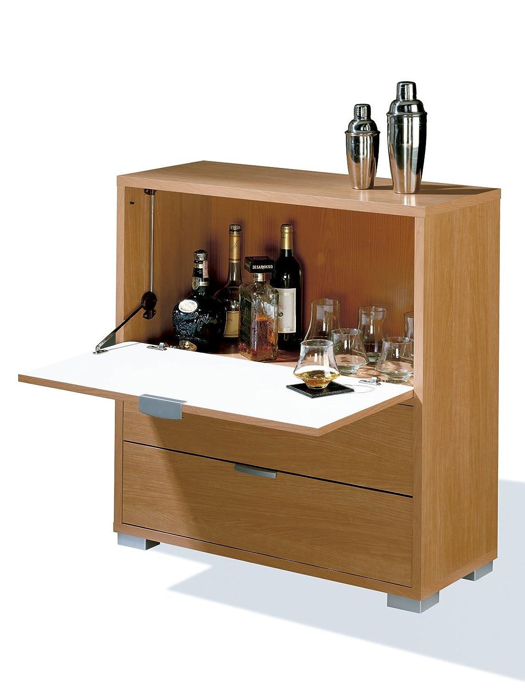 Abitti Mueble-Bar Auxiliar con Barra abatible y Dos cajones, Color Cerezo, para Salones o dormitorios Medida 81x84