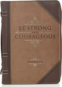 """Antique Book """"Be Strong & Courageous"""" Bible / Book Cover - Joshua 1:9 (Large)"""
