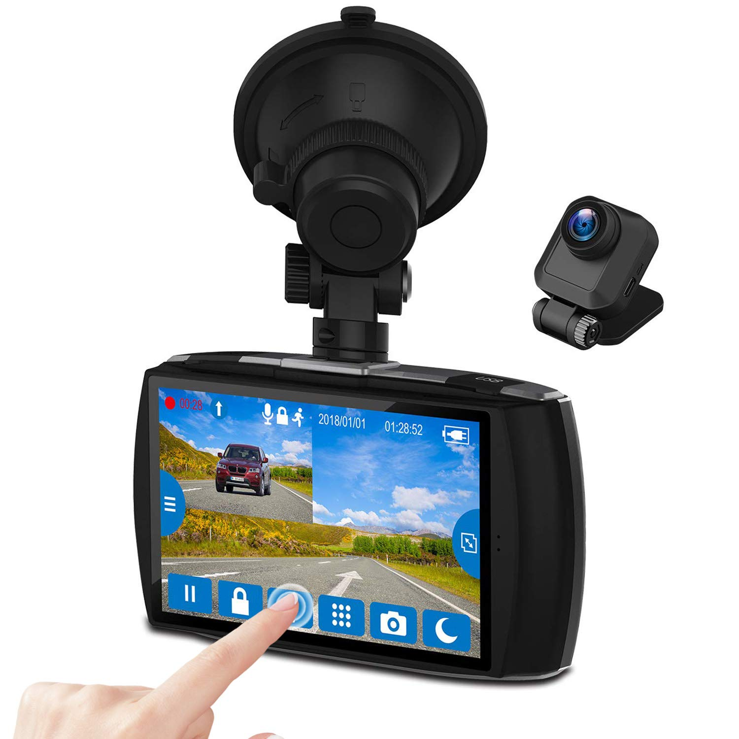 Z-EDGE Dash Cam Front and Rear 4.0'' Touch Screen Dual Dash Cam FHD 1080P with Night Mode, 32GB Card Included,155 Degree Wide Angle, WDR, G-Sensor, Loop Recording