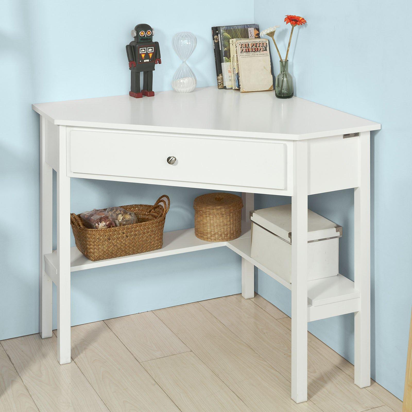 Haotian FWT31-W White Corner Desk, Triangle Table Desk with Drawer and Shelf, Home Office Desk Computer Workstation,Corner Computer Desk