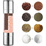 Stainless Steel Salt and Pepper Grinder, Tekury 2 in 1 Manual Pepper Mill and Salt Mill with Adjustable Ceramic Grinder Core, Dual Stainless Steel Pepper and Salt Shakers