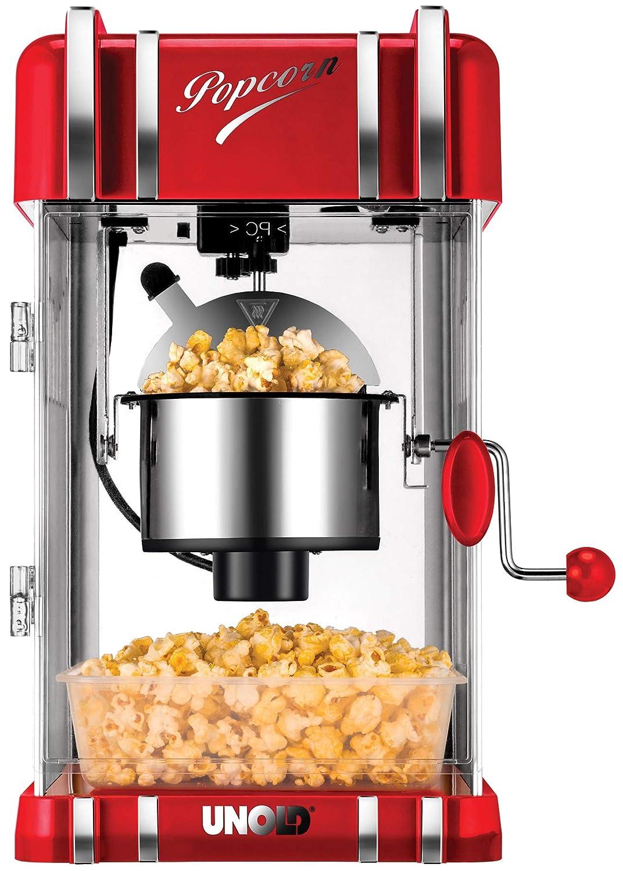 Unold 48535 Popcorn Maker Retro, 300 W eschichteter Antiadherente de Acero Inoxidable Olla, como en el Cine Palomitas, iluminación Interior, ...