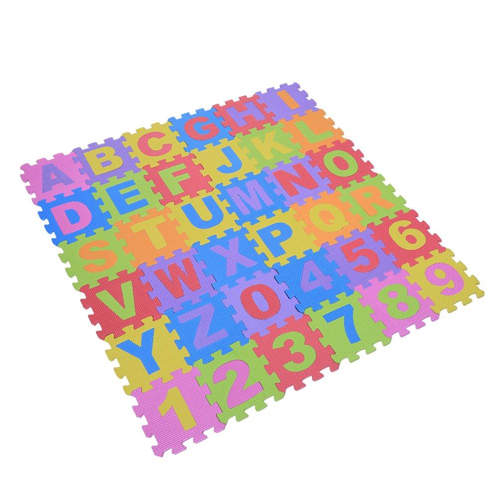 36Pcs Educational EVA Foam Children Playing Mat Interlocking Puzzle Cushion Pad Multicolored Alphabet Letters & Number Small Blocks Soft Floor Mat Kids Room Decor Indoor Fitness Yoga Carpet, 15×15CM