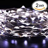2 Pack LED String Lights,Ryham Fairy Starry String Light Copper Wire Twinkle Lights 16.4 Feet 5M 50LED Waterproof Decorative Rope Lighting Indoor/Outdoor Patio Camping(Cool White)