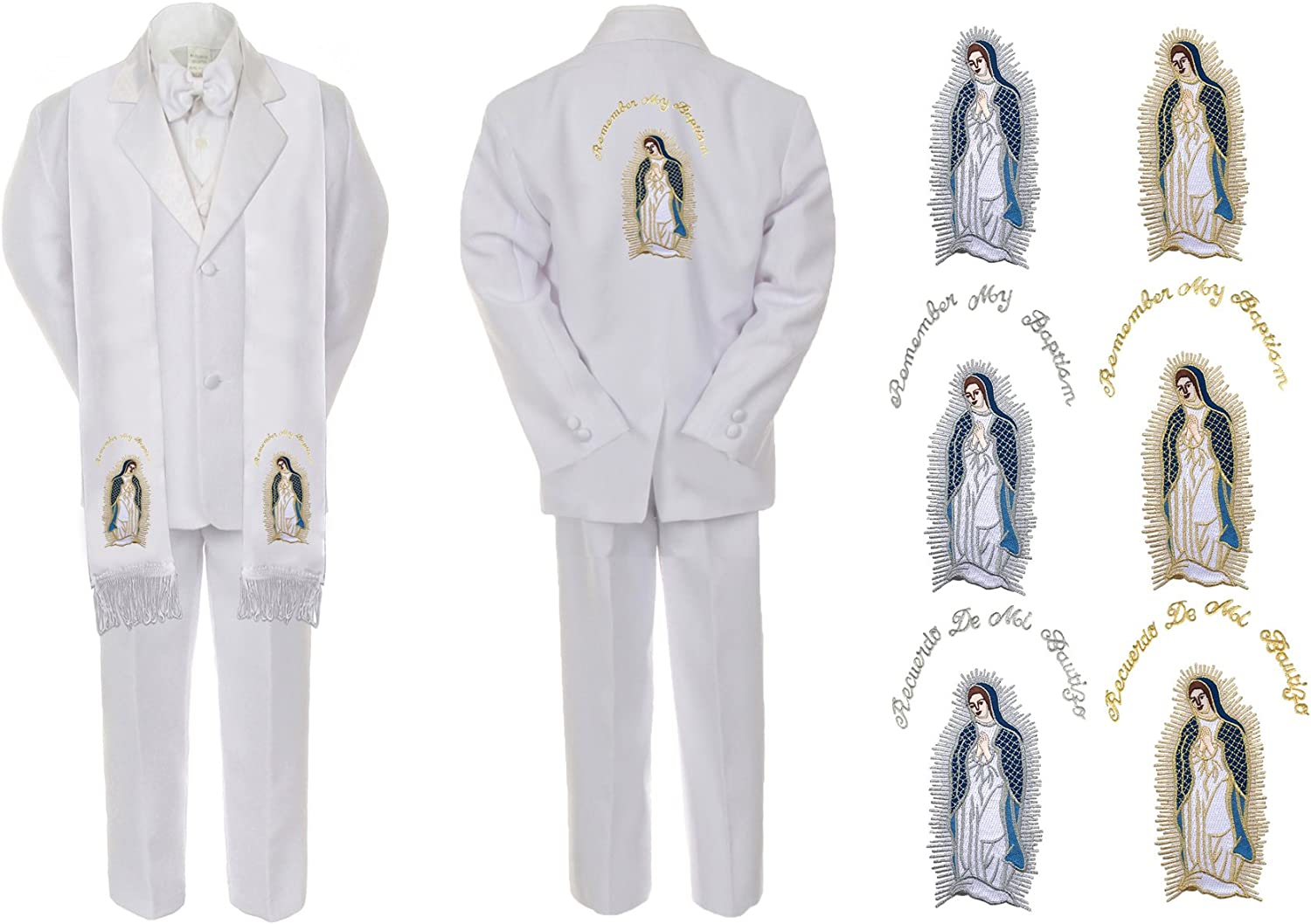 Unotux Baby Boy Christening Baptism White Suit Guadalupe Mary Maria Stole /& Back Sm-7