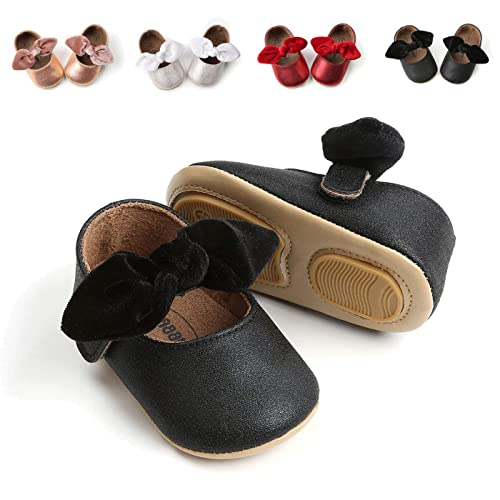 7b909a4169843 BEBARFER Baby Girls Mary Jane Soft Sole Flats Bowknot Infant Non-Slip  Toddler Princess Dress Shoes