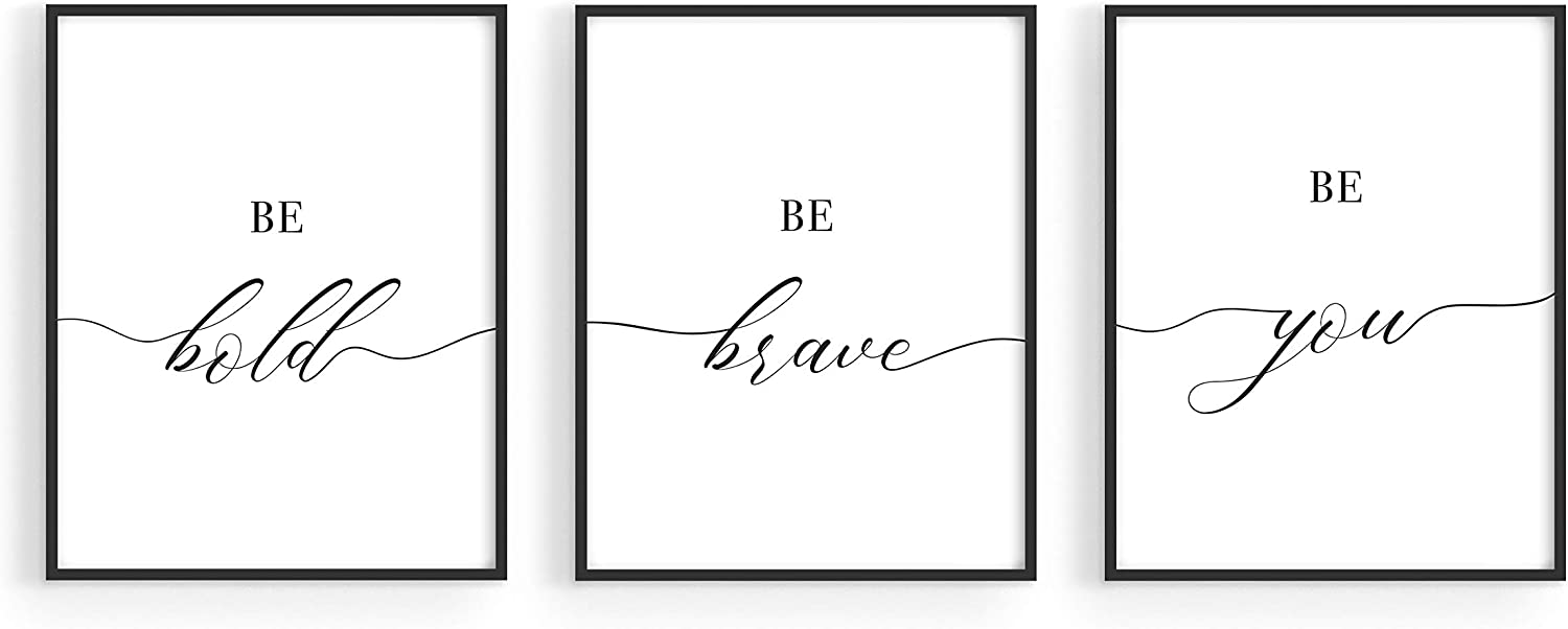 """HAUS AND HUES Inspirational Wall Art Sayings Set of 3 Positive Quotes Wall Decor 