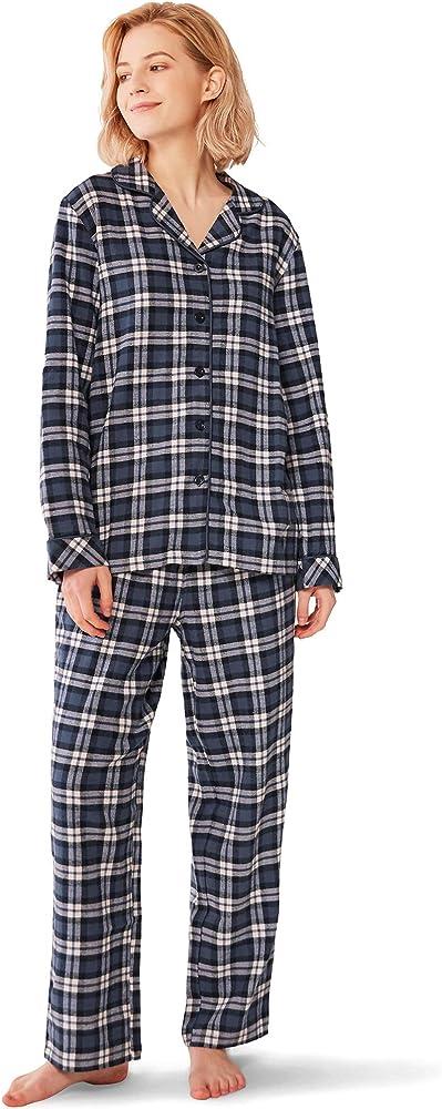SIORO Conjuntos de Pijama para Mujer Conjuntos de Pijama de algodón de Franela Ropa de Dormir a Cuadros de Manga Larga Ropa de Dormir, Cuadros Azul Marino y Blanco, S: Amazon.es: Ropa