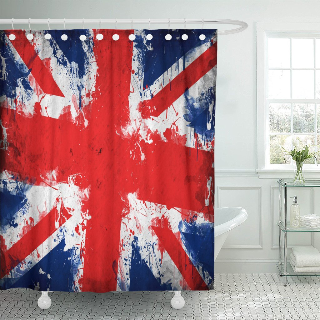 Emvency Fabric Shower Curtain Curtains With Hooks British Great Britain Flag Union Jack United Kingdom In Grunge Technique England English London Artistic