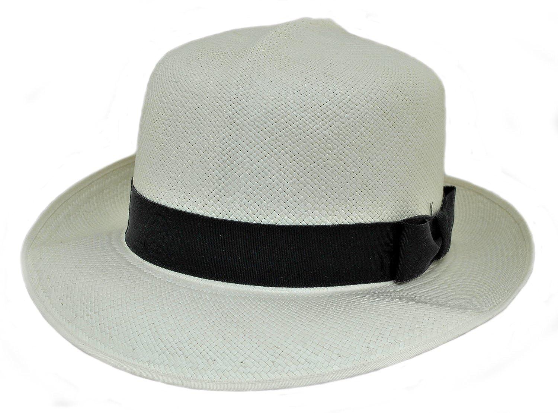 Olney Mens Folding Brisa Panama Straw Hat (SM68) with Black Ribbon Band