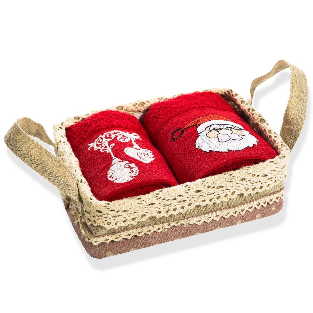 Lujo ultra suave algodón turco Spa y Hotel calidad Papá Noel toalla de baño Set con cesta, 16 x 24 pulgadas, (Set de 2): Amazon.es: Hogar