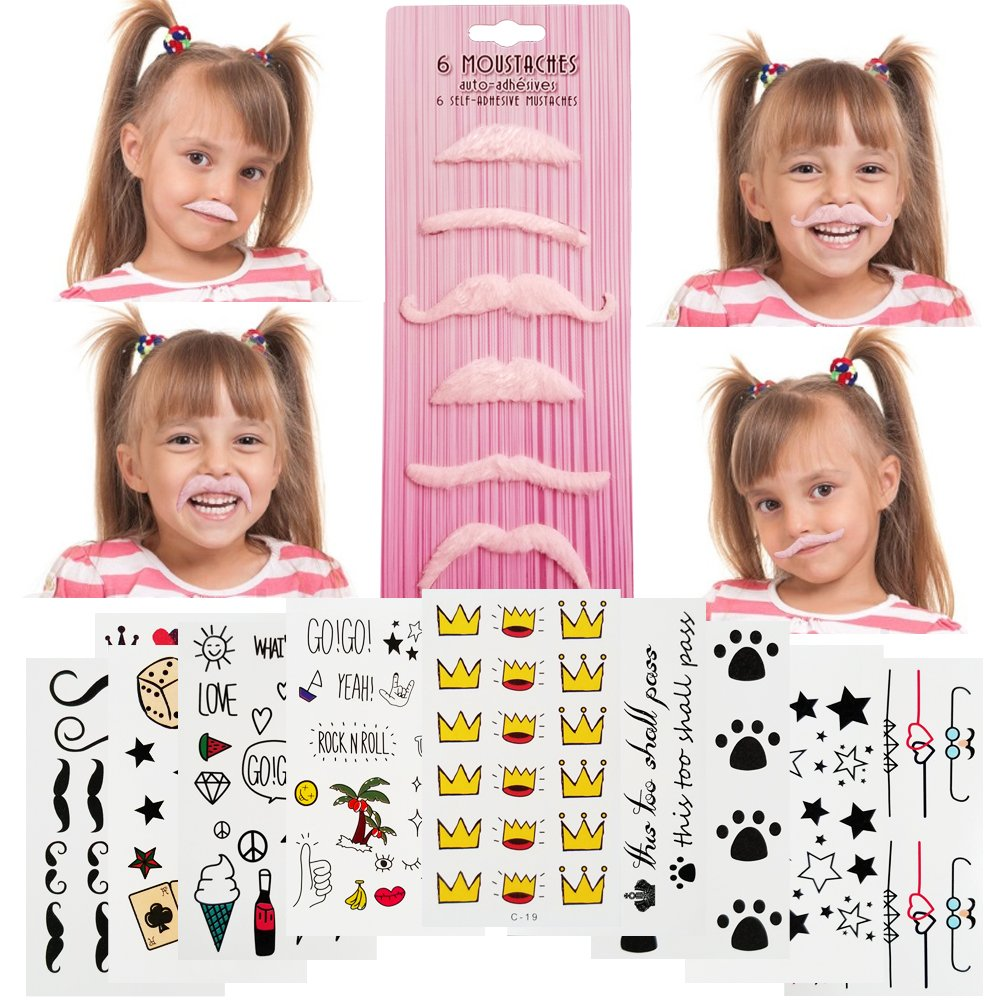 iKidoos® Fake Mustaches for Kids Adults 36 Pack Self Adhesive Mustache Novelty