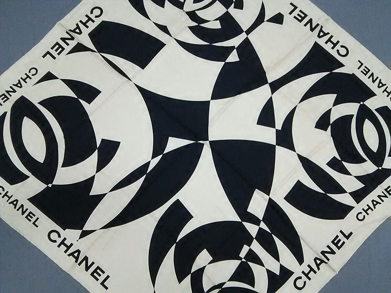 (シャネル) CHANEL スカーフ アイボリー×黒 【中古】 B07FHXX2T9  -