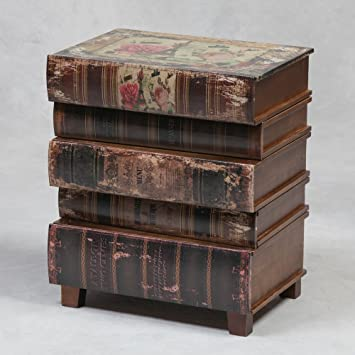 Antique Style Mock Leather Stacked Books Storage Office Side Table
