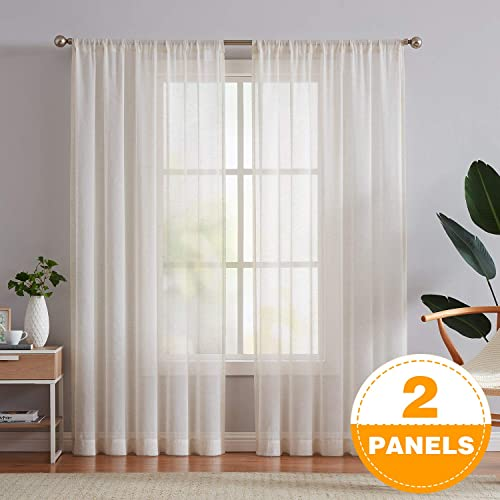 Fmfunctex Linen Sheer Curtains 108inches Long for Living Room Flax Blend Retro Window Draperies for Bedroom Sheers Rod Pocket 52 w x 2Panel Natural