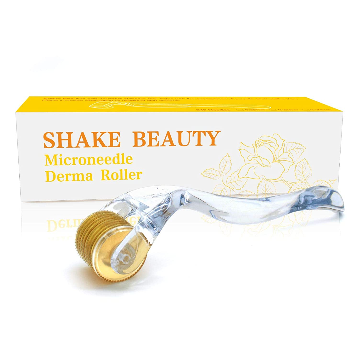 Derma Roller for Face 0.3mm - Cosmetic Microneedle Roller for Face 540 Titanium Micro Needles - Microdermabrasion - Includes Storage Case Shake Beauty